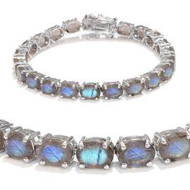Labradorite (Ovl) Tennis Bracelet (Size 7.25) in Platinum Overlay Sterling Silver 28.000 Ct.
