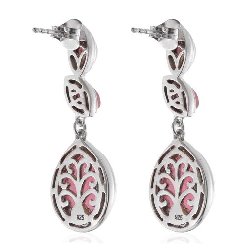 Pink Jade (Pear) Earrings (with Push Back) in Platinum Overlay Sterling Silver 11.000 Ct.