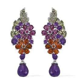GP Amethyst, Rhodolite Garnet, Citrine, Hebei Peridot, Kanchanaburi Blue Sapphire and Natural Cambodian Zircon Floral Earrings (with Push Back) in Platinum Overlay Sterling Silver 13.000 Ct.