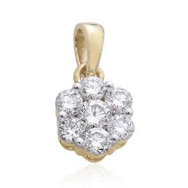 ILIANA 18K Y Gold IGI Certified Diamond (Rnd) (S I/G-H) Floral Pendant 0.500 Ct.