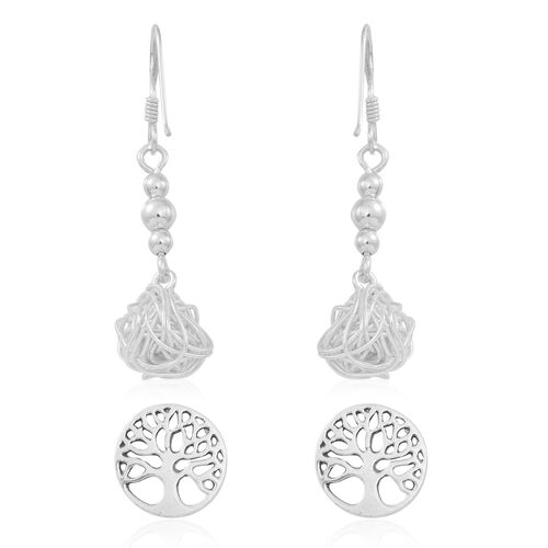 Set of 2 - Thai Sterling Silver Tree of Life Stud Earrings (with Push Back) and Hook Earrings, Silver wt 4.83 Gms.