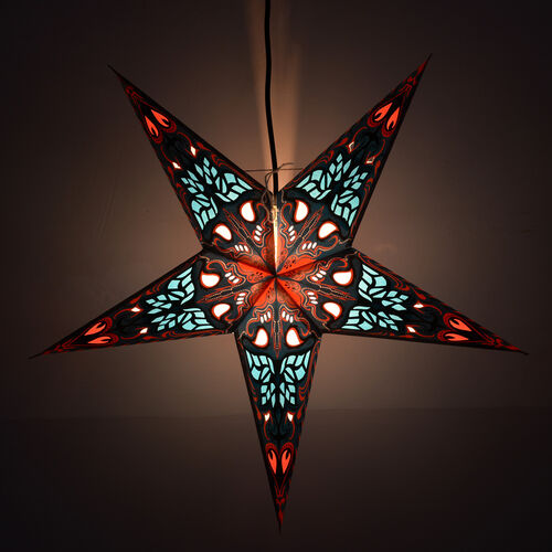 CHRISTMAS SPECIAL Home Decor - Paisley Pattern Blue, Red and Multi Colour Handmade Star with Electric Cable (Size 60 Cm)