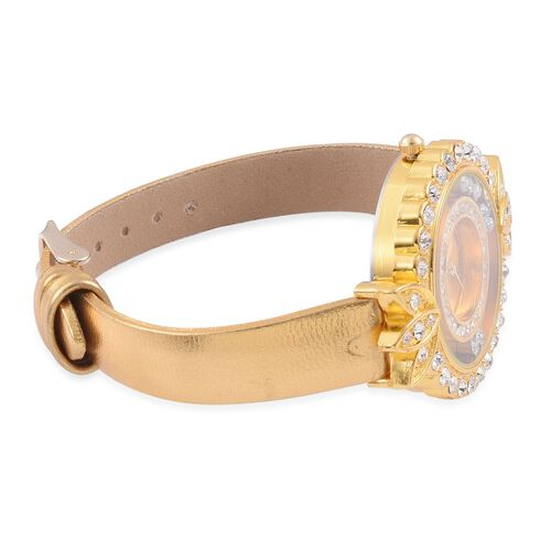 STRADA Floating Austrian Crystal Floral Design Watch - Golden