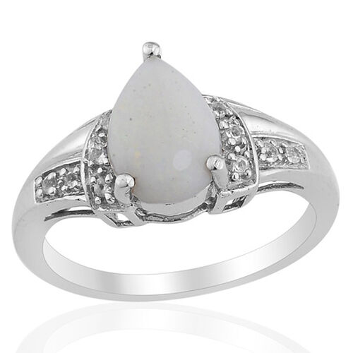 Australian White Opal (Pear) White Topaz Ring in Platinum Overlay Sterling Silver  0.750 Ct.