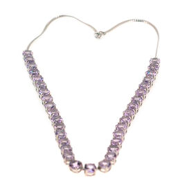 Rose De France Amethyst (Rnd) Necklace (Size 18) in Rhodium Plated Sterling Silver 45.000 Ct.
