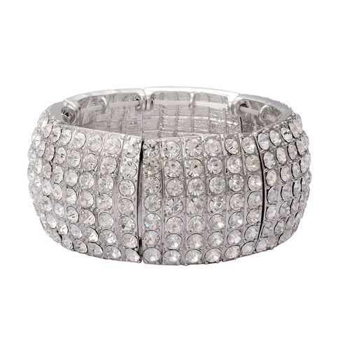 AAA White Austrian Crystal 7 Row Stretchable Bracelet (Size 7.5) in Silver Tone