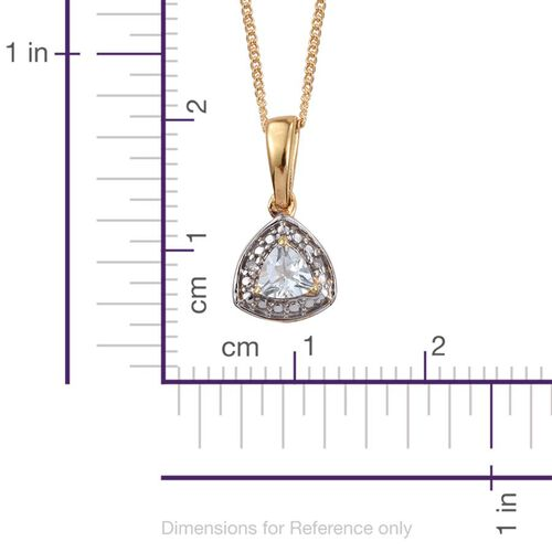 Espirito Santo Aquamarine (Trl), Diamond Pendant With Chain and Lever Back Earrings in 14K Gold Overlay Sterling Silver 0.750 Ct.