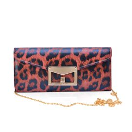 Red and Black Colour Leopard Pattern Satin Clutch Bag with Chain Strap (Size 25x11.5x5 Cm)