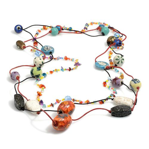 Set of 3 - Jewels of India Green Aventurine, Mozambique Garnet, Fluorite, Glass Pearl, Glass Bead and Multi Gemstones Necklace (Size 36)