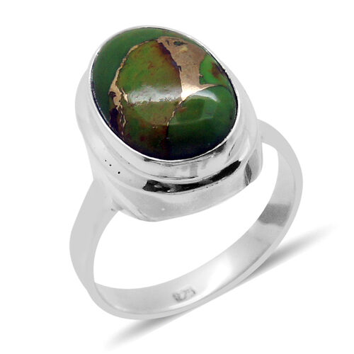 Royal Bali Collection Mojave Green Turquoise (Ovl) Solitaire Ring in Sterling Silver 5.750 Ct.
