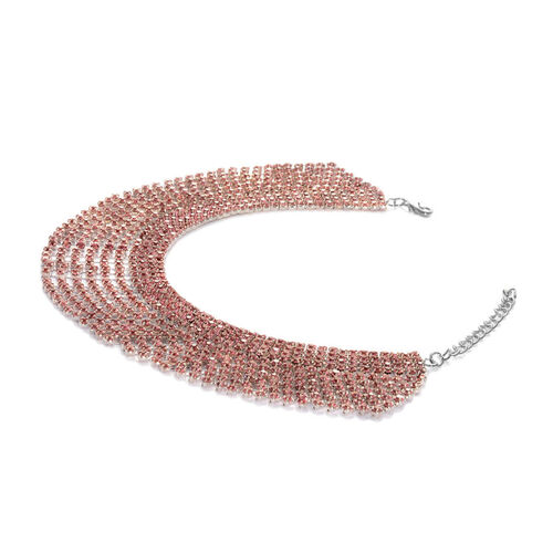 (Option 1) AAA Pink Austrian Crystal Bracelet (Size 9 with 2 inch Extender) in Silver Tone