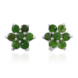 AAA Russian Diopside (Rnd) Floral Stud Earrings (with Push Back) in Rhodium Plated Sterling Silver 1.250 Ct.