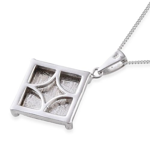 Meteorite (Sqr) Pendant With Chain in Platinum Overlay Sterling Silver 18.500 Ct.