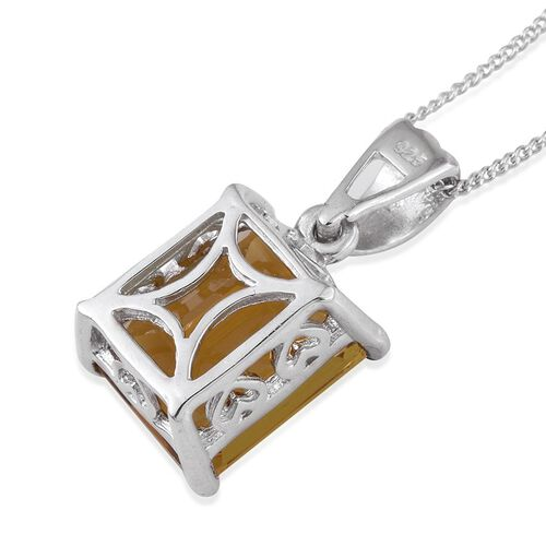 Marialite (Oct) Solitaire Pendant With Chain in Platinum Overlay Sterling Silver 4.000 Ct.