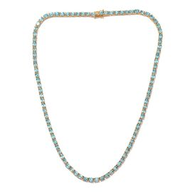 AA Paraibe Apatite (Ovl) Necklace (Size 20) in 14K Gold Overlay Sterling Silver 33.500 Ct.