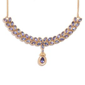 Tanzanite (Pear 0.65 Ct) Necklace (Size 18) in 14K Gold Overlay Sterling Silver 9.250 Ct.