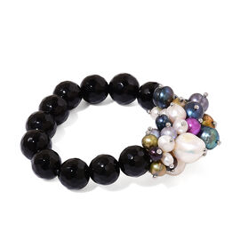 Black Agate and Fresh Water Multi Colour Pearl Stretchable Bracelet (Size 7.5) 195.000 Ct.