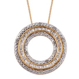 Diamond (Rnd) Circle Pendant With Chain in 14K Gold Overlay Sterling Silver 0.250 Ct.