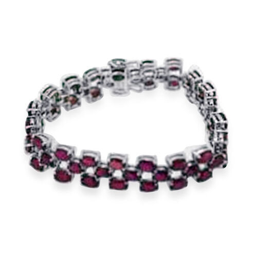 African Ruby (Ovl) Bracelet (Size 8.25) in Rhodium Plated Sterling Silver 52.500 Ct.