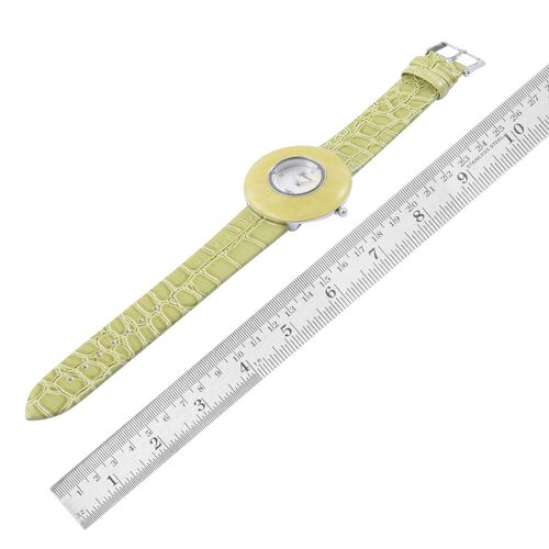 GENOA Japanese Movement White Austrian Crystal Studded White Dial Enhanced Quartzite Water Resistant Watch in Silver Tone With Stainless Steel Back and Lemon Green Strap 25.000 Ct.