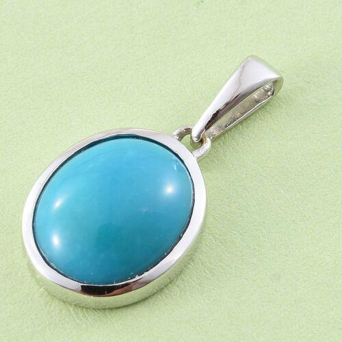 ILIANA 18K White Gold 2.75 Ct AAA Arizona Sleeping Beauty Turquoise Oval Solitaire Pendant