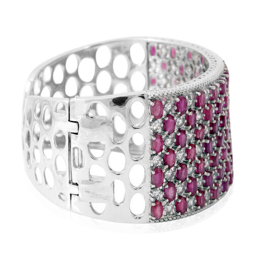 African Ruby (Ovl), White Topaz Cuff Bangle (Size 7.5) in Platinum Overlay Sterling Silver 36.000 Ct.