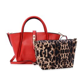 Set of 2 - Lipstick Red Colour Tote Bag and Chocolate Colour Leopard Pattern Crossbody Bag with Adjustable and Removable Shoulder Strap (Size 36x24x12.5 and 20x17.5x11 Cm)