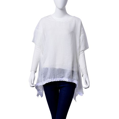 (Option 2) White Colour Top with Lace Detail finishing on the Hem  (Size 85x70 Cm)