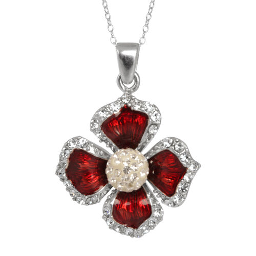 Close Out Deal Austrian Crystal (Rnd) Red Enameled Floral Pendant With Chain in Rhodium Plated Sterling Silver