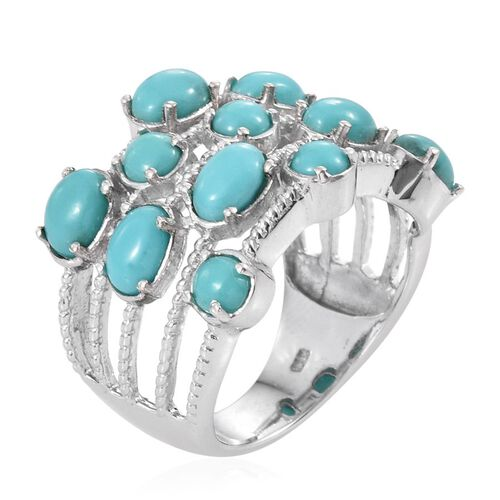 Sonoran Turquoise (Ovl) Ring in Platinum Overlay Sterling Silver 5.000 Ct.