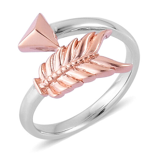 LucyQ Rose Gold and Rhodium Plated Sterling Silver Arrow Ring