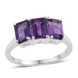 Amethyst (Oct) Trilogy Ring in Sterling Silver 2.750 Ct.