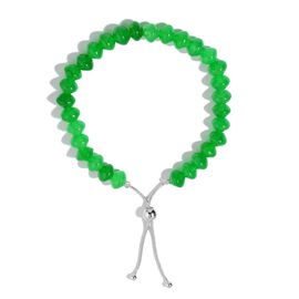 Very Rare Green Jade Adjustable Bracelet in Rhodium Plated Sterling Silver 80.000 Ct. (Size 7.5)