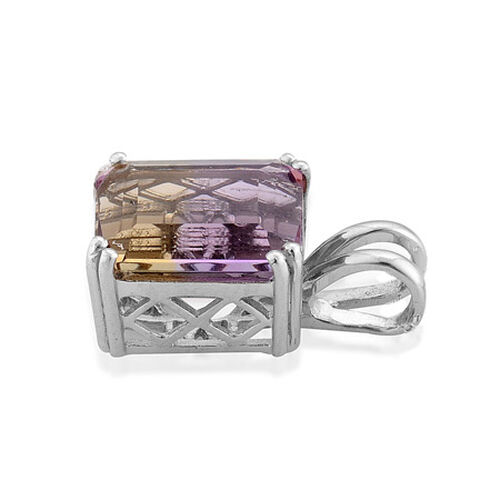 Bolivian Ametrine (5.00 Ct) Platinum Overlay Sterling Silver Pendant