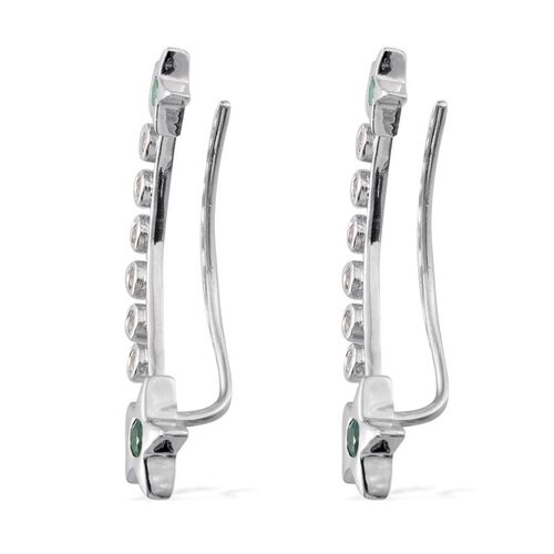 Kagem Zambian Emerald (Rnd), White Topaz Climber Earrings in Platinum Overlay Sterling Silver 1.250 Ct.