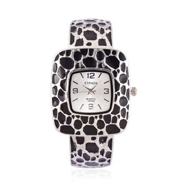 Designer Inspired STRADA Black Enameled Bangle Watch in Silver Tone with Gift Wrap Box