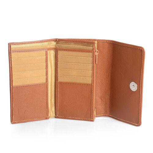 Genuine Leather RFID Blocker Tan Colour Ladies Purse (Size 15.5x8.5 Cm)