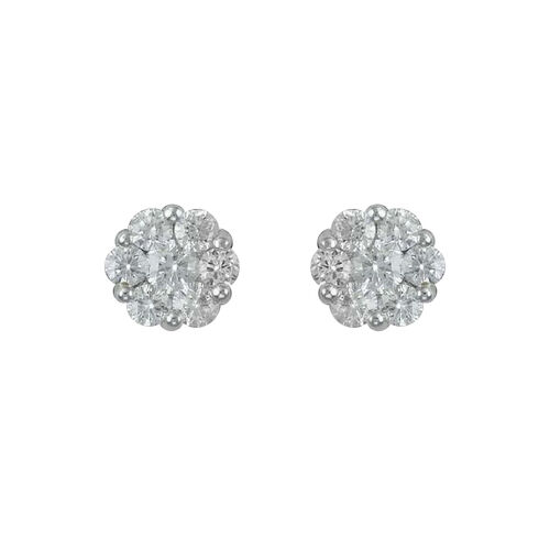 ILIANA 18K Y Gold IGI Certified Diamond (Rnd) (SI/G-H) Floral Stud Earrings (with Screw Back) 0.250 Ct.
