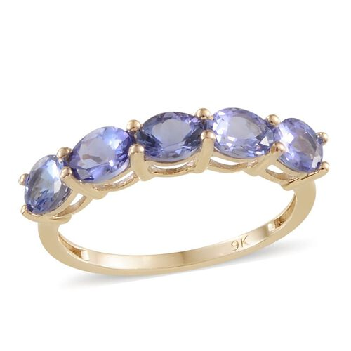 9K Y Gold Tanzanite (Ovl) 5 Stone Ring 2.000 Ct.