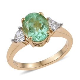 ILIANA 18K Y Gold Boyaca Colombian Emerald (Ovl 2.15 Ct), Diamond (SI/G-H) Ring 2.500 Ct.