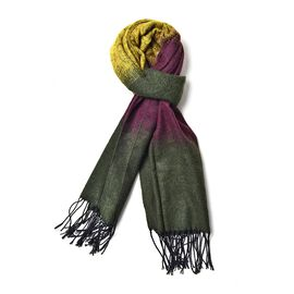 Green, Purple and Yellow Colour Paisley Pattern Scarf with Long Tassels (Size 180x65 Cm)