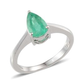 ILIANA 18K W Gold Boyaca Colombian Emerald (Pear) Solitaire Ring 1.250 Ct.
