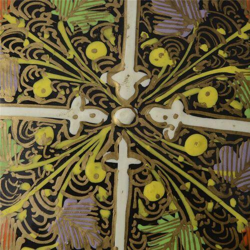 Home Decor - Multi Colour Printed Cream Colour Handmade Paper Mache Box