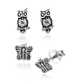 Set of 2 - Thai Sterling Silver Owl Hook Earrings and Butterfly Stud Earrings (with Push Back), Silver wt 5.00 Gms.