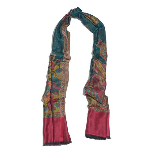 100% Suprfine Modal Multi Colour Floral and Leaves Pattern Burgundy, Golden and Green Colour Jacquard Scarf (Size 190x70 Cm)