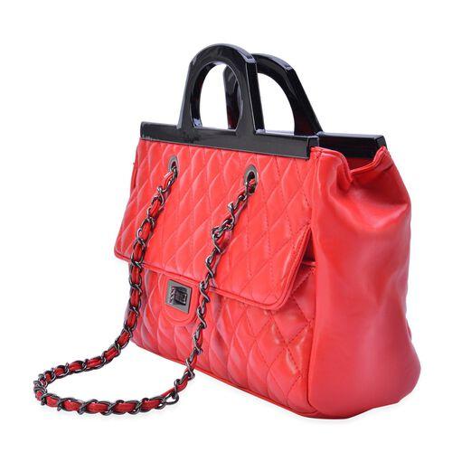 Red Colour Diamond Pattern Tote Bag (Size 33x23x9.5 Cm)
