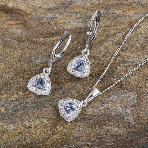 Simulated Tanzanite (Trl), Diamond Pendant With Chain and Lever Back Earrings in Platinum Overlay Sterling Silver 1.030 Ct.
