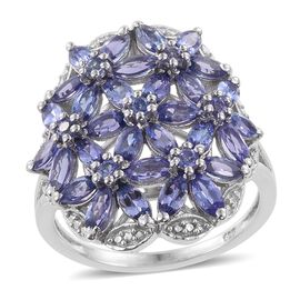 Tanzanite (Mrq) Floral Cluster Ring in Platinum Overlay Sterling Silver 4.250 Ct.