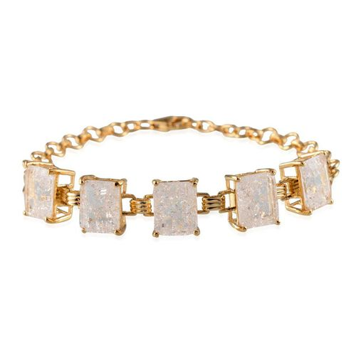 White Crackled Quartz (Oct) Bracelet in 14K Gold Overlay Sterling Silver (Size 8) 17.000 Ct.