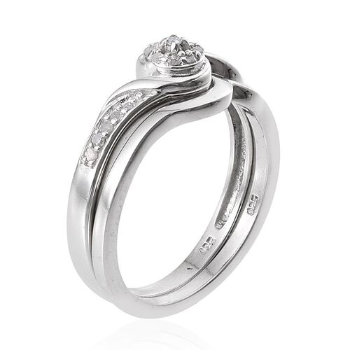 Diamond (Rnd) 2 Ring Set in Platinum Overlay Sterling Silver 0.150 Ct.